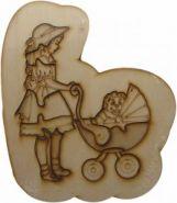 Деревянный пазл для раскраски (девочка с коляской) (00925)